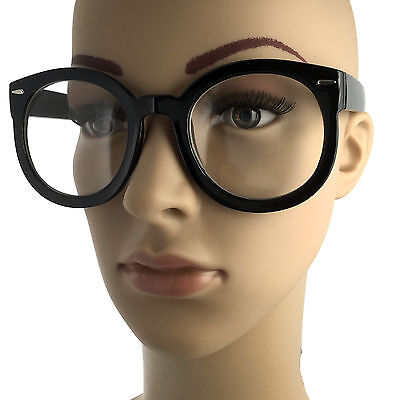 Nerdy Retro Fashion Style Clear Lens Large Oversized Round Eye Glasses (Nerdy Black Glasses)