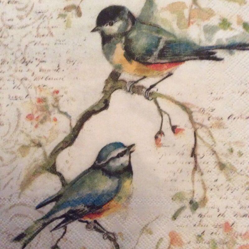 paper napkins decoupage x 2 birds 25cm