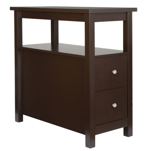 2PCS Chairside End Table with 2 Drawer and Shelf Narrow Nightstand Living Room Furniture