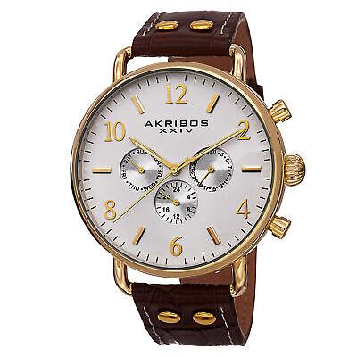 New Men's Akribos XXIV AK752BR Swiss Quartz Multifunction Brown Leather Watch