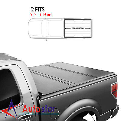 Hard Truck Bed Tonneau Covers - For 2004-2018 Ford F-150 Lock Hard Solid Tri-Fold Truck Bed Tonneau Cover 5.5ft