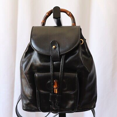 Gucci Black Mini Backpack with Drawstring and Pockets