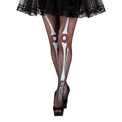 Damen schwarz weiß Knochen Tag der Toten Halloween skelett-strumpfhose Kostüm