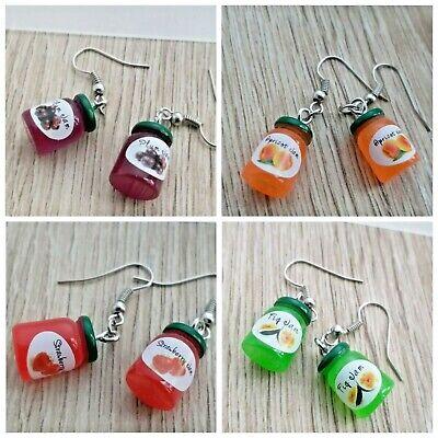 Breakfast Jam Pot Novelty Earrings Fun Food hemed Resin kawaii Jewellery