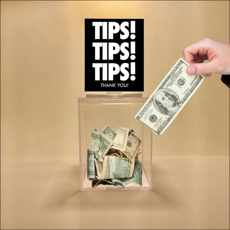 1 Tip Jar, Clear Plastic, 4 Graphics W/ Your Logo On 1 Customized Graphic.