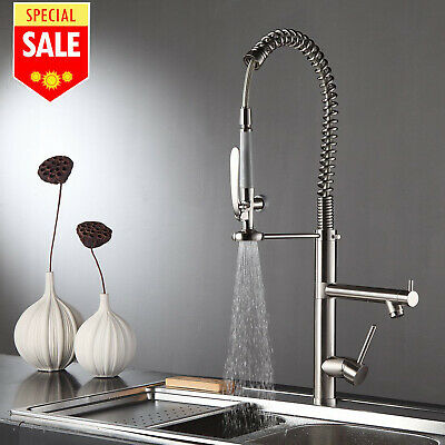 28'' Commercial Pre-Rinse Kitchen Sink Faucet Pull Down Brass Tap Brushed Nickel ()