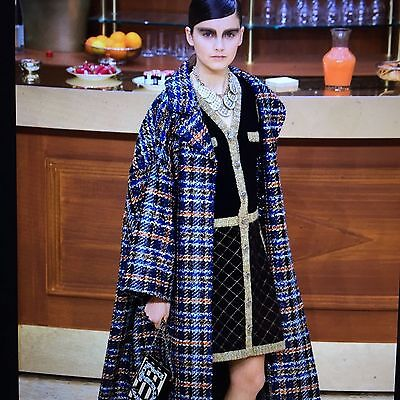 CHANEL 15A NEW TAGS Tweed Black Multicolor Jacket DRESS Camellia buttons FR50