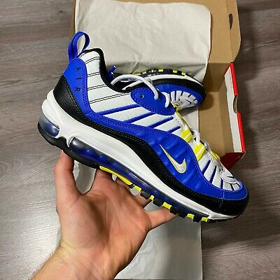 NIKE AIR MAX 98 RACER BLUE WHITE TRAINERS SHOES SIZE UK6 US7...