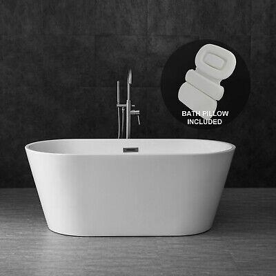 "Woodbridge 59"" Freestanding Bathtub Contemporary Soaking Tub B0014 With Pillow"