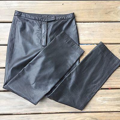 Women's Ann Taylor LOFT 100% Leather Black Pants Size 4 6
