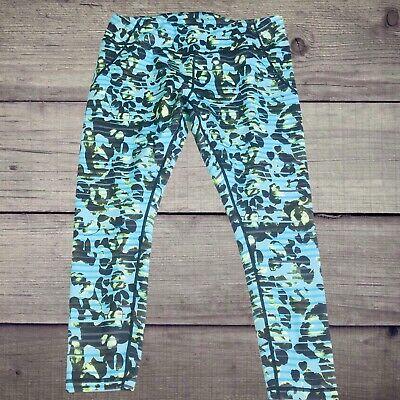 Zella Cropped High Rise Legging Striped Pattern Print Leggings Blue Size XL
