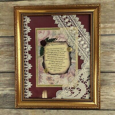 Nicest Grandma Framed Poem Collage Floral Victorian Buttons Lace