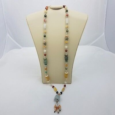 Glass Stone Beads Necklace Multi Color Pendant Dangles Silver Spacer Beads Long Glass Multi Stone Pendant