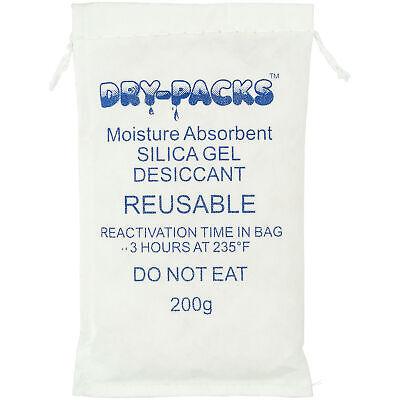 Silica Gel 200g, Bag Lockdown Moisture With Dry-Packs 200 Gram Dehumidifying Bag
