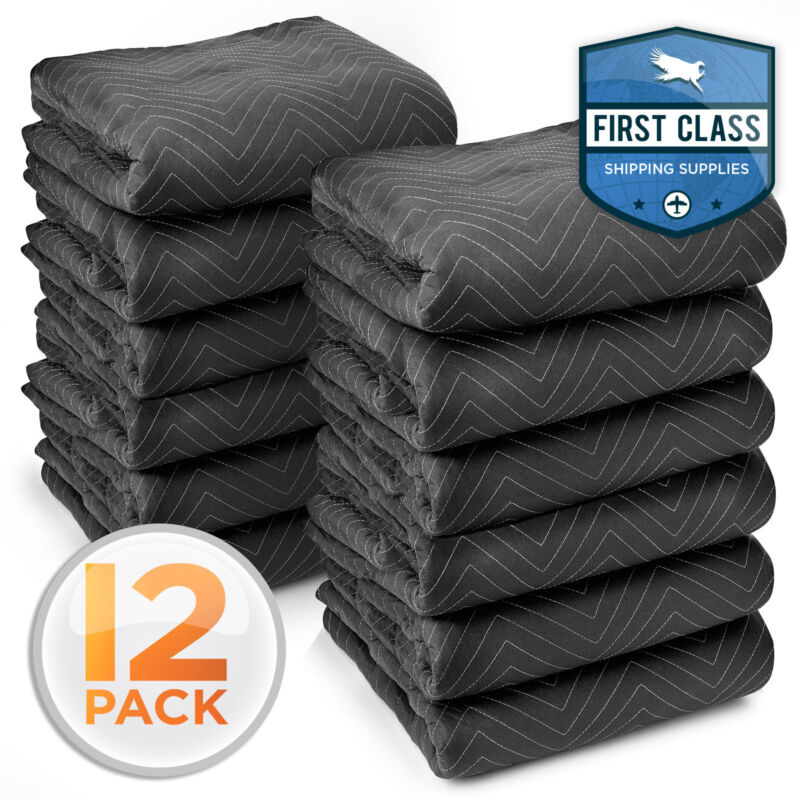 "12 Moving Blankets Furniture Pads - Ultra Thick Pro - 80"" x 72"" Black"
