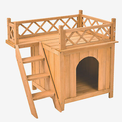 Wood Dog Puppy Pet House Wooden Room with Roof Balcony Bed Shelter Outdoor