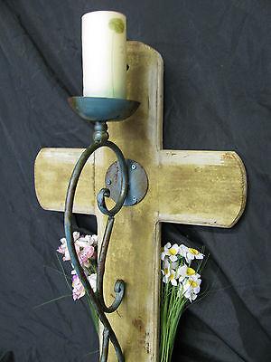 Große Eiserne Wand (Großes Holzkreuz mit Leuchter Eisernes Kreuz Grabmal Wandleuchter  Kruzifix)