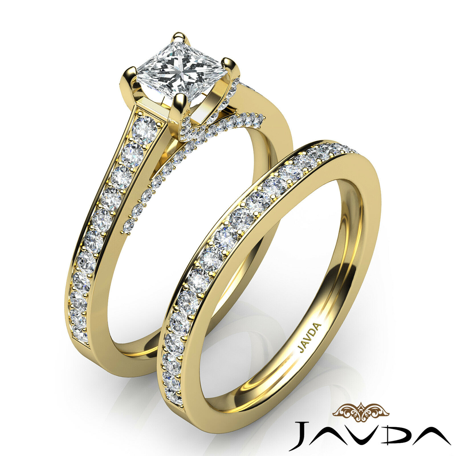 2.05ct Accent Bridge Pave Bridal Princess Diamond Engagement Ring GIA F-VS2 Gold 10