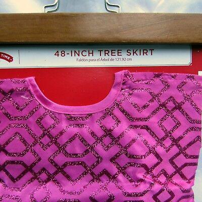 "Christmas Tree Skirt 48"" Bright Pink Satin Geometric Glitter Merry Holiday Time"