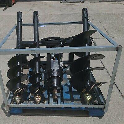 New Skid Steer Hydraulic Auger Post Hole Digger 3 Bits 9 12 18 Skidsteer