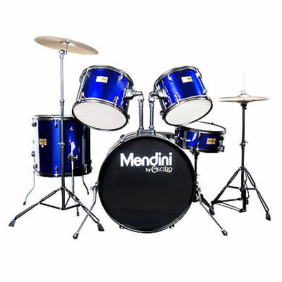 MENDINI BLUE 5 PIECE COMPLETE ADULT DRUM SET POPLAR SHELL W/ CYMBAL & HARDWARE on Rummage