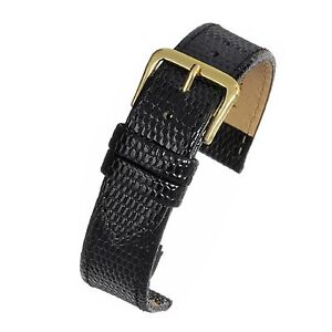 Mens-genuine-real-leather-black-lizard-grain-watch-strap-band-width-18mm