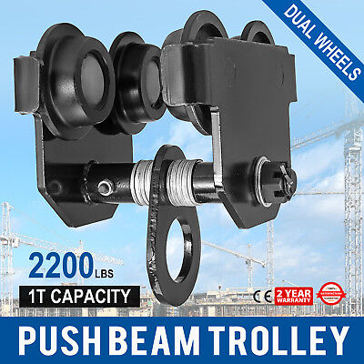 1 Ton Push Beam Track Roller Trolley Heavy Loads Solid Steel Capacity 2200lbs