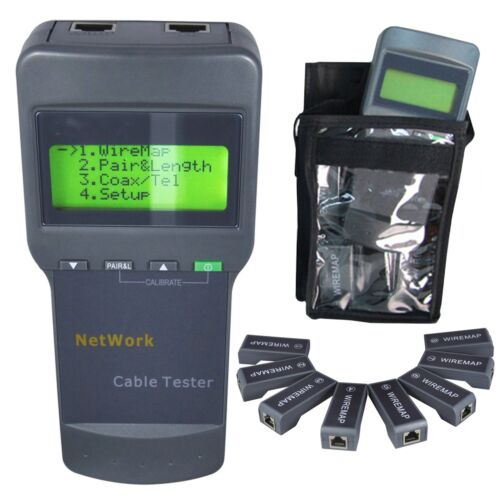 RJ45 STP UTP Twin Twisted Coaxial Cable Network Wire Length Digital Tester with 8 Remote Far End Jacks Tracers Identifier Analyzer