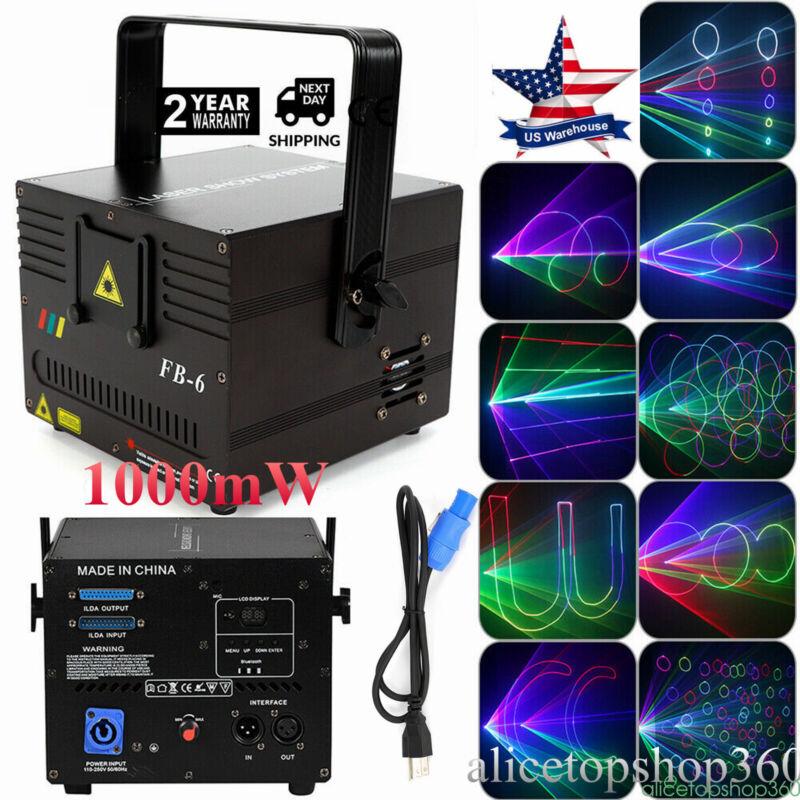 1000mW RGB DMX ILDA Full Color Animation Laser Light DJ Stage Party Xmas Effect