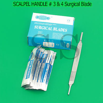 1 Scalpel Knife Handle 3 4 100 Pcs Sterile Surgical Blade 10 15 20 22