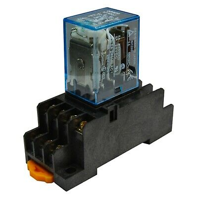 Lot Of 2 Omron My4n-j 24v Dc Coil 5a Cube Relay With Socket Base Pyf14a