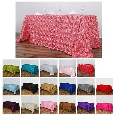 Rosette/ Rose Pattern Rectangle Tablecloth 90x156 For Wedding Party Events ()