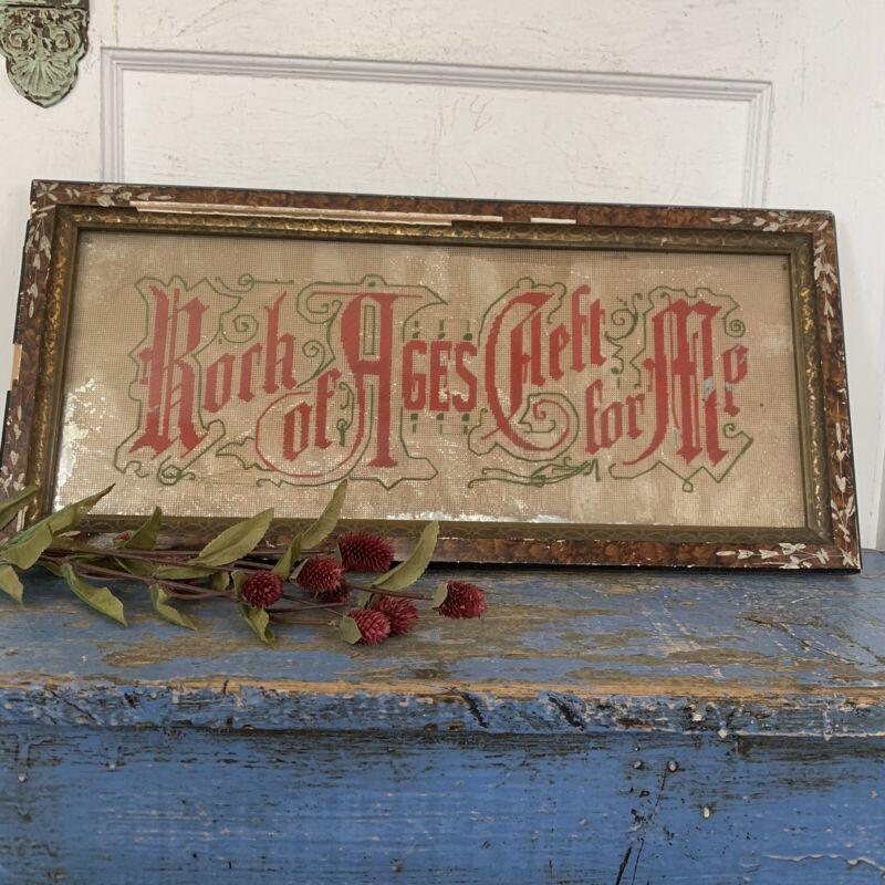 Antique Victorian Punch Paper Sampler Needlework Rock of Ages Cleft for Me