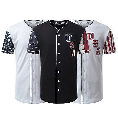 Baseball Button Down Jersey (Mens longline t-shirt jeans Baseball Jersey USA Flag Button Down Baseball Jersey )