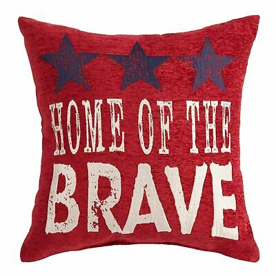 Brentwood Home of the Brave Patriotic Cushion America USA Throw Pillow 18