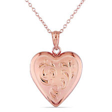 Amour Rose Plated Silver Heart Locket Necklace