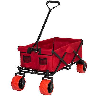 Folding Utility Wagon Shopping Garden Beach Cart W/ All-Terrain Wheels- Red