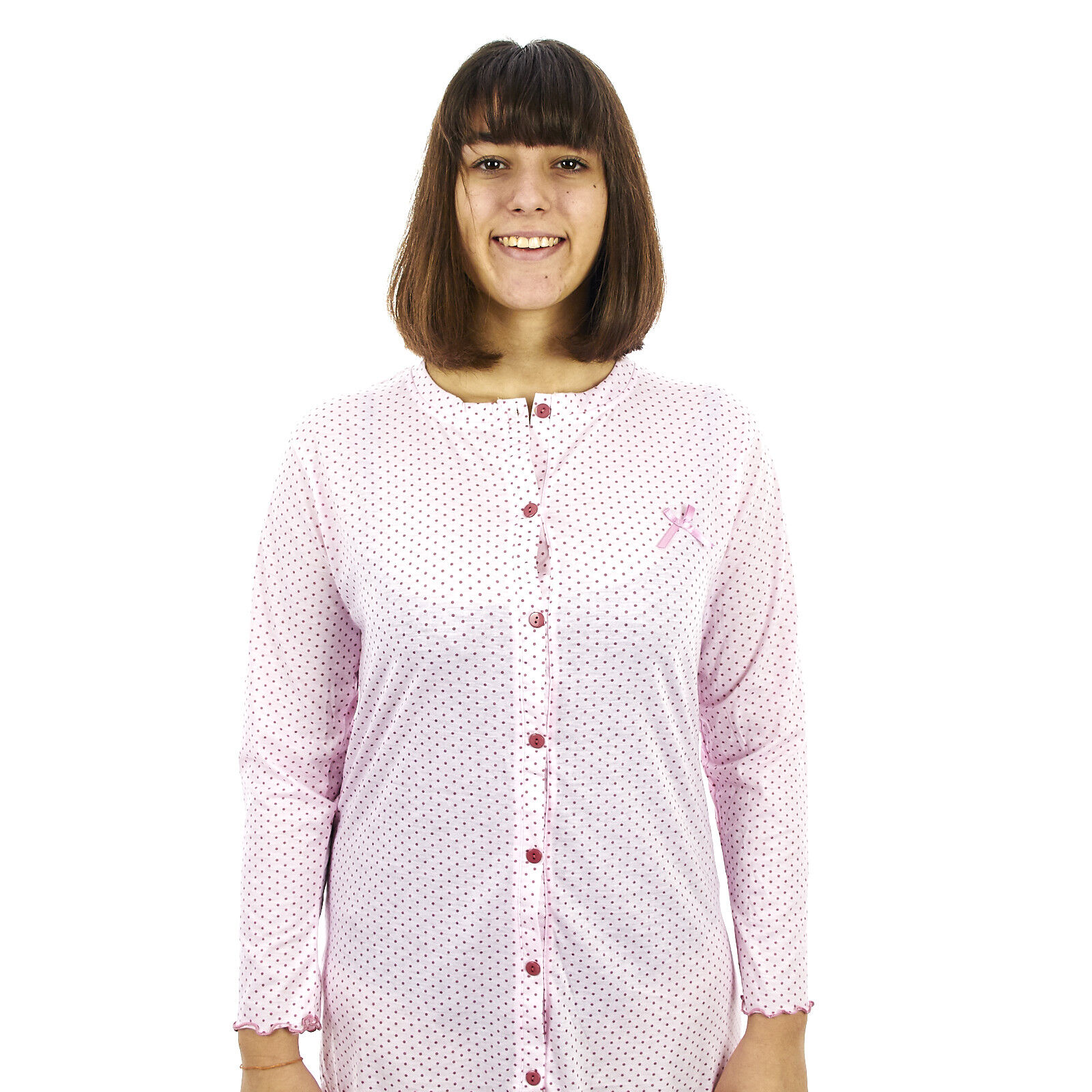 Camicia da notte donna primavera autunno in cotone  aperta a pois  8DPCAM008