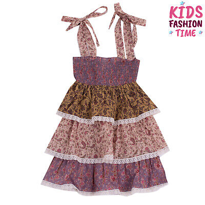 RRP €185 ZIMMERMANN Tiered Dress Size 4Y Floral & Paisley Shirred Lace Trim Bow