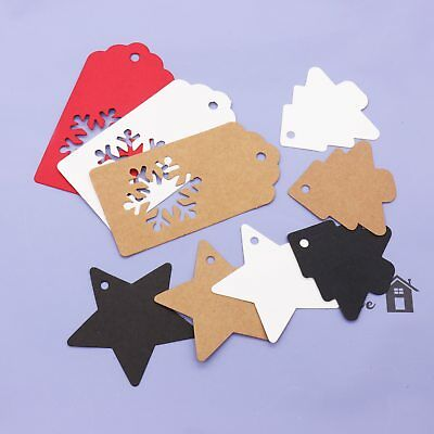 100pcs Christmas Tree,star Snowflake Kraft Paper Tag Gift Package Decoration