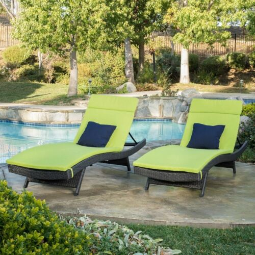Nassau Outdoor Grey Wicker Adjustable Chaise Lounge with Green Cushion, Set of 2 Home & Garden