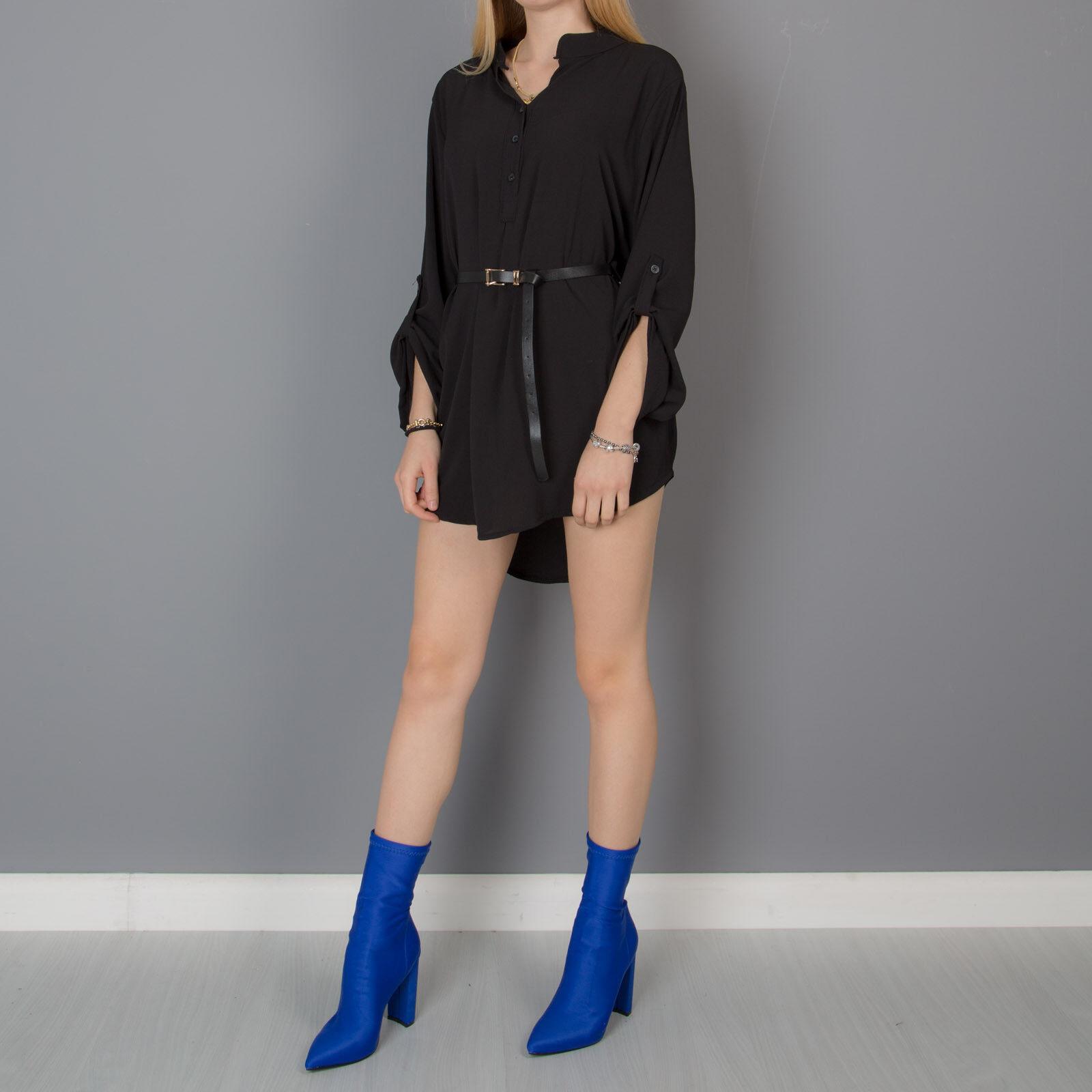 a25651b46367 Camicia donna lunga camicetta casacca mini abito cintura collo coreana  4986-aa.
