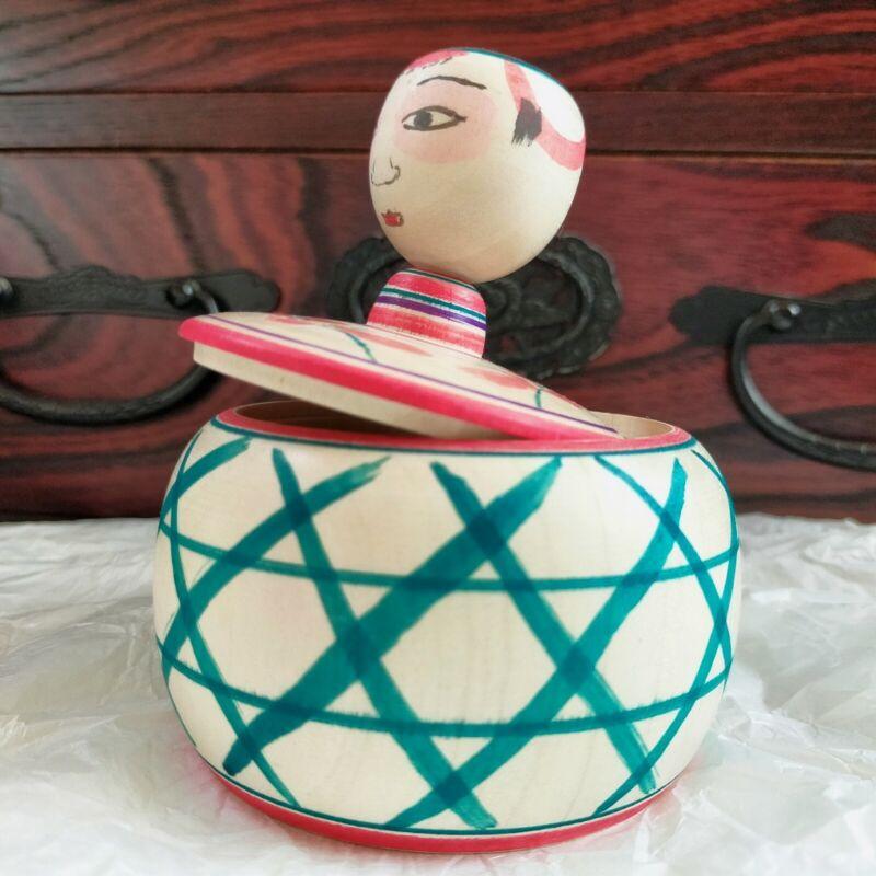 Japanese wooden doll Tako bozu kokeshi  Kagome Arakawa Yoichi  ejiko container