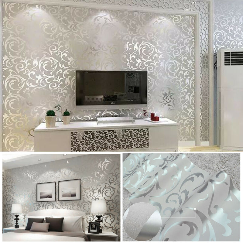 Home Decoration - Home Decor Metallic Textured Damask Embossed Wallpaper Soft Grey Silver Glitter