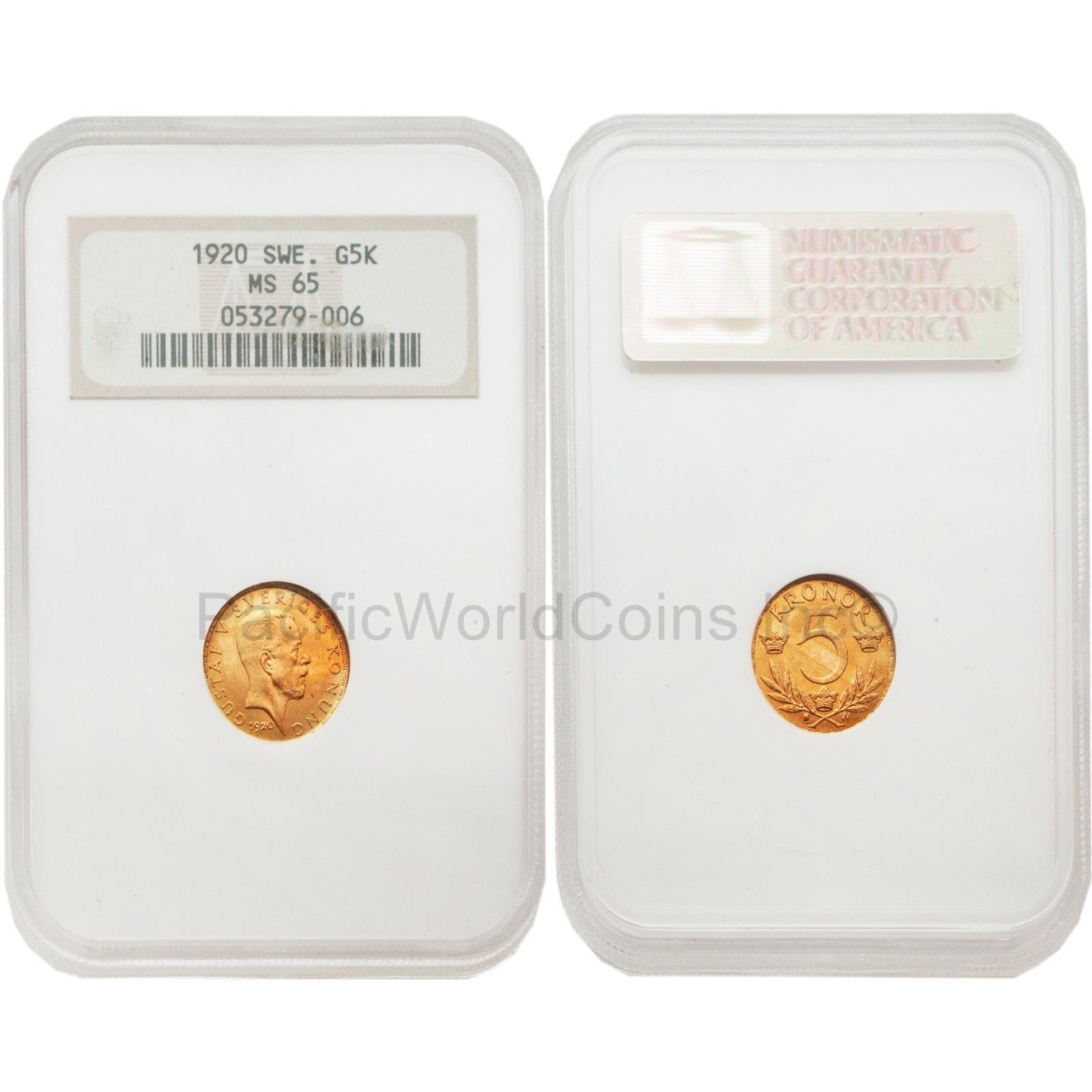 Sweden 1920 5 Kroner Gold NGC MS65