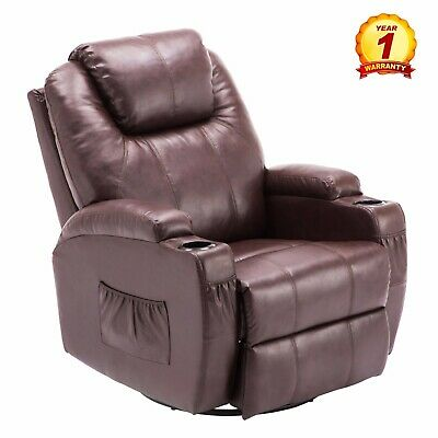 Modern Massage Recliner Chair Sofa PU Leather 360 Degree Swivel Rocker DarkBrown