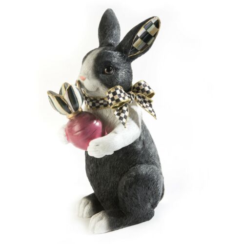 """NEW Mackenzie Childs ADORABLE 13"""" RADISH RABBIT with COURTLY CHECK Ears"""