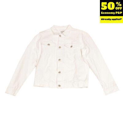 PAOLO PECORA Denim Jacket Size 11Y White Button Front Regular Collar
