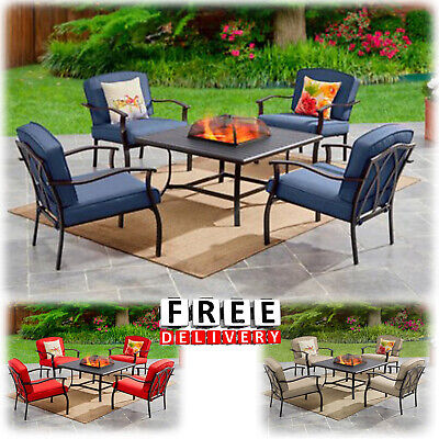 Outdoor Patio Dining Furniture Set 5 Piece Table Chairs Lawn Garden Fire Pit