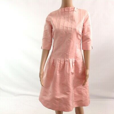 Lee Anderson Couture Women Fit Flare Dress Size S Pink Cocktail Vintage Pleated